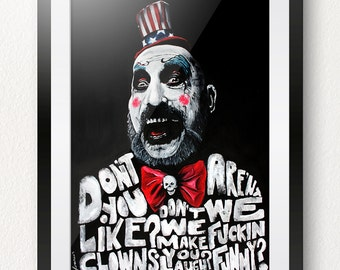 Limited Edition Captain Spaulding Painted Art Print