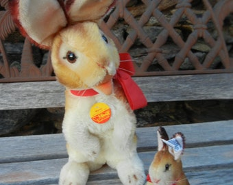 "Steiff Manni Rabbits Mama & Baby ALL IDs 13""T and 5"" T  Mint Cond.  1983 Limited Edition Easter Bunny"