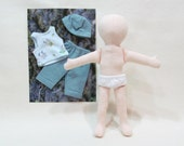 """SALE 11""""  Eco friendly soft hemp linen doll with blue up cycled cotton knit  snoopy outfit,  baby safe"""