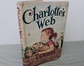 Vintage Children's Book - Charlotte's Web by E.B. White - 1952 - Illustrated Book - Mid Century Children's Book