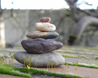 Natural Beach Stone Stack 5 Rustic Funky Ocean Rocks Zen Stones Rock Art Father's Day Fountain Yoga Meditation Gift Balance Garden Sculpture