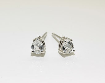 Sapphire (Natural White Sapphire), 5mm x 4mm x 0.33 Carat Pear Cut, Sterling Silver Post Earrings