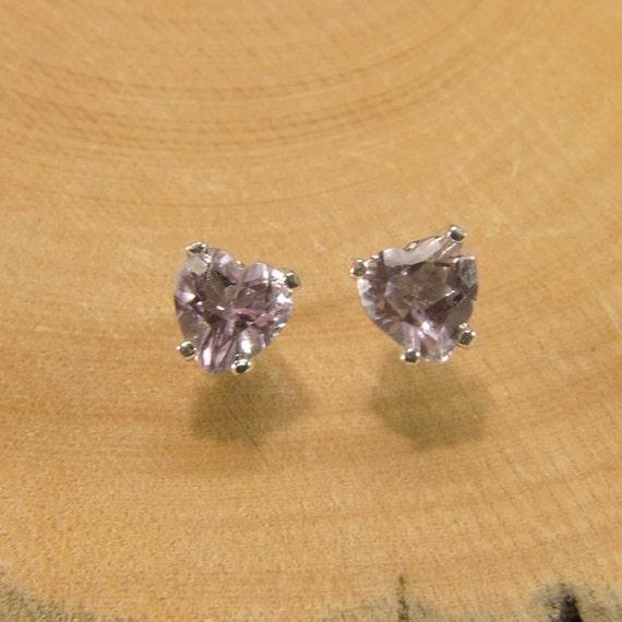 Amethyst ('Rose de France' Amethyst), 6mm x 0.65 Carat, Heart Cut, Sterling Silver Post Earrings