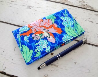 Cotton, Eco friendly checkbook cover, Amy Butler floral,  ready to ship