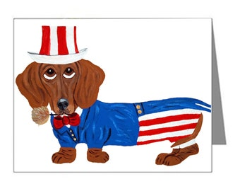 Dachshund Note Cards/Dachshund In Uncle Sam Suit/July 4th Note Cards/10 Cards & Envelopes/Squirreldumplings/Doxie Cards/Assortment Available