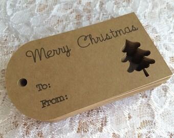 Merry Christmas Tags, To From Christmas Tree Tags, Kraft Christmas Gift Tags, - Set of 25