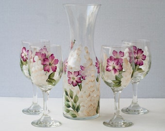 Painted glassware Carafe and 4 glasses pink and white flowers