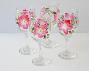 Painted glassware Hibiscus flowers set of 4