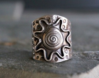 Isra Sterling Silver Ring Sun Ring Hill Tribe Ring