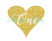 MEGA SALE Gold Glitter Birthday DIY printable Heart One First Birthday Iron On Transfer Digital Image for Outfit Photo Prop Diy Printable