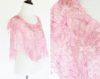 SALE Vintage 1980's Pink Sheer beaded bib top- Pink Butterfly top - Ladies Size Small to Medium