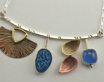 Druzy Necklace - Mixed Metal Necklace - Metalsmith Necklace - Artisan Jewelry