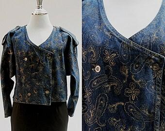 Denim Jacket, Blue and Gold Indigo Jacket, Women's Fitted Blazer, Batwing Style Sleeves, Long Sleeves, Vintage 80s Jacket, Jacket for Women