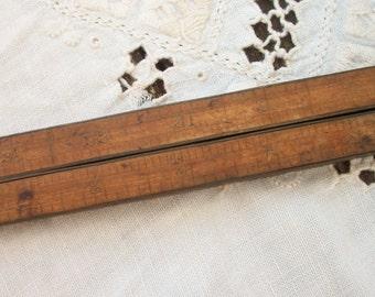 Upson Nut Co. # 62 Antique Brass & Wood Folding Measure / Ruler ~ Encased ~ Folding Ruler Wooden ~ Very Vintage