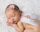 Angel Wings, baby Wings, Headband- White and Baby Pink Feather Angel Wings with Matching Headband Newborn Prop