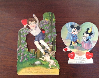 Mechanical Antique Valentines, Lot of 2, 1939 W.D.P., Disney, Mickey Mouse, Minnie Mouse, I Love You, Be Mine, When Minnie Kissed Mickey
