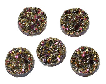 5pc AB Multicolor Faux Druzy Resin Flat Back Cabochons - 12mm - Embellishment, Jewelry Finding, Jewelry Making Supplies, Ships from USA -R1
