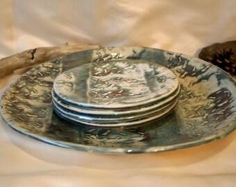 High Fire Porcelain Ceramic Dragon Fly Plates and Platter Set