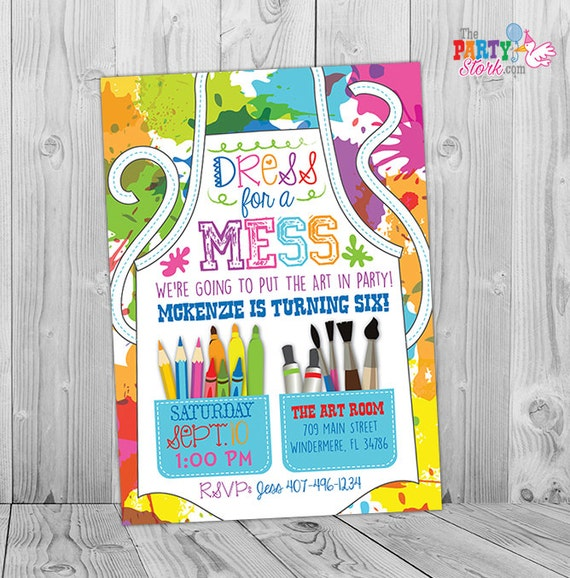 Painting party invitation art party invitation art birthday party il570xn stopboris Choice Image