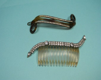Vintage Hair Comb and Clip, Clear Rhinestone Accents