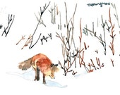 ACEO Limited Edition 1/25 -Fox walking in snow, Red fox miniature painting, Art card of an original ACEO watercolor, Gift for animal lovers