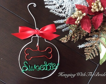 Personalized Pet Ornament , Wire Dog Bone with Pet's Name, Dog Christmas Gift, Unique Dog Ornament, Hand Shaped Wire Decor