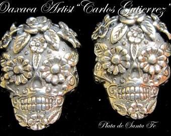 """OAXACA Artist CARLOS GUTIERREZ Well Designed  & Ornate """"Dia de los Muertos"""" 925 Earrings 1"""" Tall"""