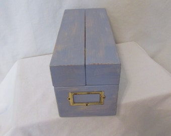 Hand Painted Hinged Lid File Box Recipe Box Removable Slates Card Catalog Distressed Office Beach Cottage