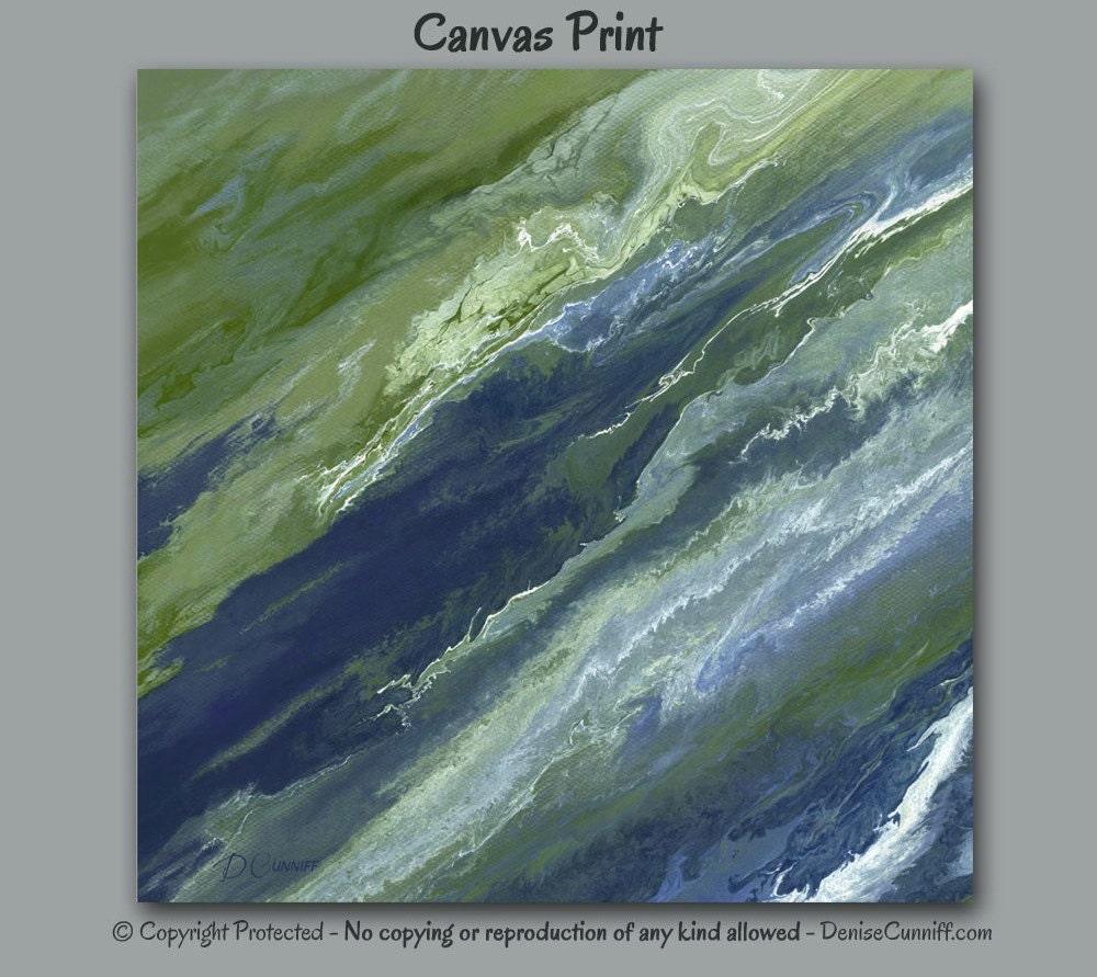 abstract canvas wall art navy blue olive green sage slate. Black Bedroom Furniture Sets. Home Design Ideas
