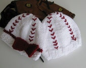 Knitted Baby's First Baseball Beanie Hat (Boy Version, Size 0-3 Months)