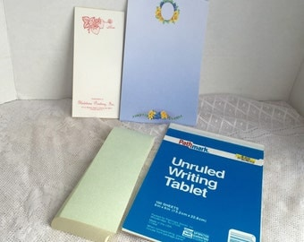 Vintage Writing Tablets / Unlined Writing Paper / Blue Floral Stationery / Strawberry Paper / Green Paper Memo Pad