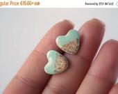 Mint bronze heart studs, mint earrings, foil studs, free shipping, mint blue ear posts, heart jewelry