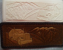 Leather tool Embossing plate. semi truck  pattern (T17)