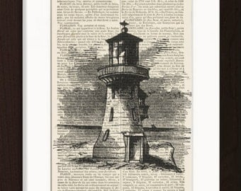 Vintage  Lighthouse Engraving  Print on 1870's French Dictionary  Recycled Book Page
