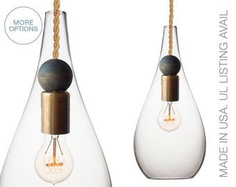 Blown Glass & Wood Drop Pendant Light- MADE IN USA- Petite Ship Rope