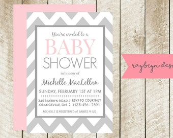 Grey & White Chevron Baby Shower Invite - Digital File