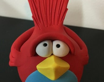 Red and Blue Polymer Clay Bird