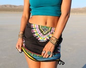 BLACK Tribal skirt, High Waist or Low Waist, Festival Skirt, Boho, Gypsy, Navajo, Black Tribal Skirt,  Burning Man Skirt