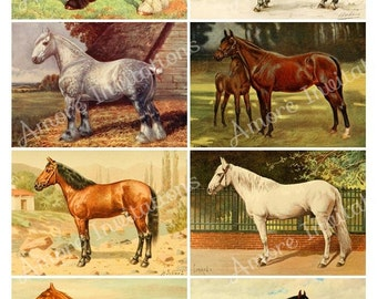 Printable Vintage Horses Digital  Collage Sheet - ATC - JPEG - PDF - Instant Download - Downloadable - Commercial use / Cu use ok