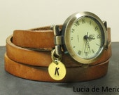BRACELET WRAP WATCH - Leather watch, three laps wrist watch, vintage initial watch, Personalized watch- Christmas gift