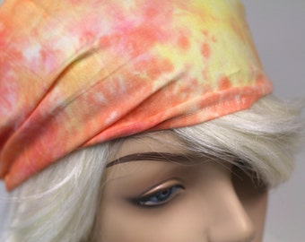 Yellow Peach Pink Tie Dye Headband Womens Headband Head Wrap Dreadband Womens Bandana Fabric Headband Hippie Headband Hair Accessory