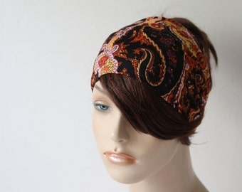 Black Paisley Turban Head Wrap, Workout Headband, Women's Yoga Headband, Turband Womens Gift for Her Hair Accessories
