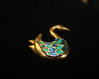 Gold Tone Swan Brooch, Green and Blue Accents, Vintage