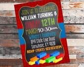 Lego Birthday Invitation. building blocks party. Lego birthday. boys party invite. girls party invite. Lego Party. Lego event. 5X7