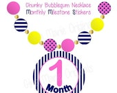 ON SALE Monthly Stickers Baby Girl Monthly Milestone Stickers Navy Pink Yellow Stickers Monthly Growth Stickers Girly Necklace Stickers