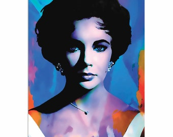 Pop Art 'Elizabeth Taylor The Color of Passion' by Artist Mark Lewis, Colorful Painting Limited Edition Giclee Print on Metal or Acrylic