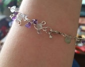 Silver & Crystal Amethyst Flourite Handmade Healing Bracelet For Anti-Stress and inner Peace