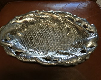 Vintage Dated 1993 Arthur Court Aluminum Serving Tray With Trout Designs