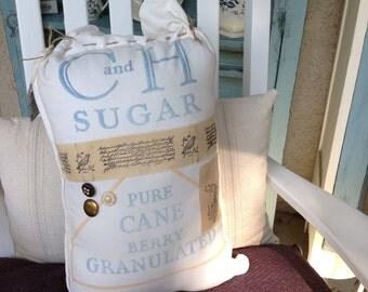 C&H sugar sack pillow, cottage decor, shabby chic pollows, rustic decor, home decor