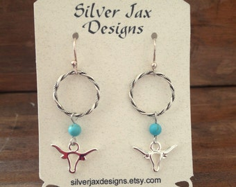 Silver Longhorn Turquoise Dangle Earrings, Western, Cowgirl, Steer, Boho, Rodeo Jewelry, Gift for Her